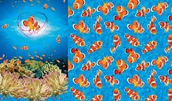 blauw oranje wit clownsvisjes (Nemo) paneel digitaal- tricot (op=op)