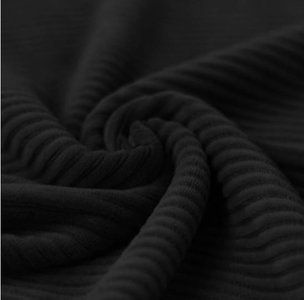 brede rib katoenen  jersey zwart