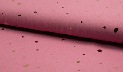 hydrofiel oud roze met rose gouden ongelijke nopjes confetti