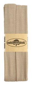 oaki doki tricot de luxe 2cm bias taupe.