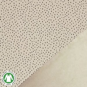 beige (kiezel) zwart confetti druppels - biologische french terry