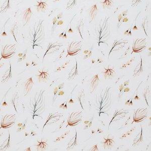 wit (off white) camel terracotta boho bloemen digitaal poplin