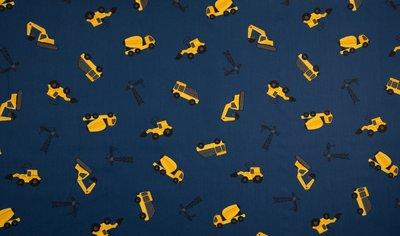 bouwvoertuigen blauw geel