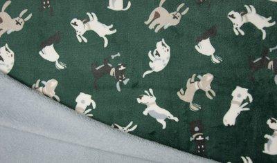 groen vintage blauw hondjes knuffelfleece