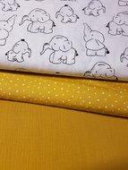 mosterd hydrofiel - painted dots - olifanten