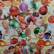 kerstballen en dennenappels digitale poplin