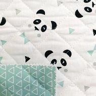gewatteerde katoen panda en triangels mint